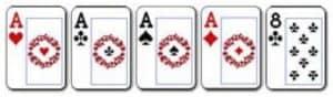 3 Four of a Kind Kombinasi dari 4 kartu dengan angka yang sama dan 1 kartu lain sebagai Kicker