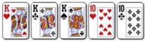 4 Full House Kombinasi dari 3 kartu dengan angka yang sama dan 2 kartu lain dengan angka yang sama