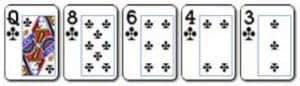 5 Flush Kombinasi 5 kartu dengan lambang yang sama