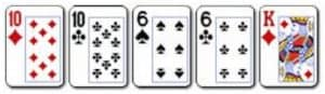 8 Two Pair Kombinasi dari 2 pasang kartu dengan 2 jenis angka berbeda dan 1 kartu lain nya