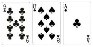 Value 8 Kombinasi dari 3 kartu dengan total jumlah kartu adalah 8