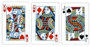 Three Picture Terdiri dari kartu King, Queen atau Jack dengan simbol kembang bebas (hati, wajik, diamond, kriting).